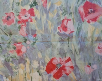"Vintage 1980s floral cotton fabric ""Perruche"" by Taco. Fabric has a slight sheen, pastel brush strokes. By the yard. 56"" wide."