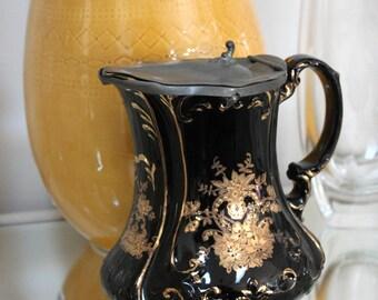 SJB Samuel Johnson Burslem Antique Tea Pot Coffee Server Glazed Porcelain Gold Gilding Flip Top Lid 1900's Lided Victorian Carafe Black Gold