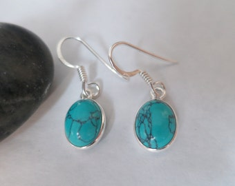 Turquoise  earrings set in 92.5 sterling silver, free shipping
