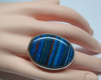 Large rainbow calsilica ring, size7; 92.5 sterling silver, unique, free shipping