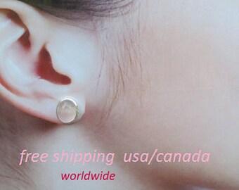 Rose quartz silver stud earrings, 92.5 sterling silver