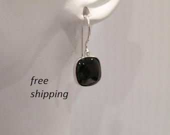 Silver black onyx earrings; 92.5 sterling silver