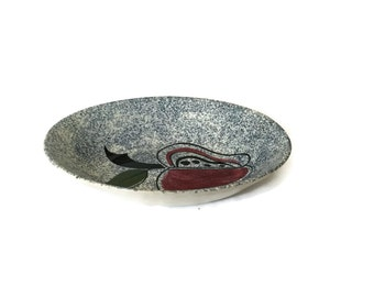 Blue Speckled Serving Dish with Red Apple