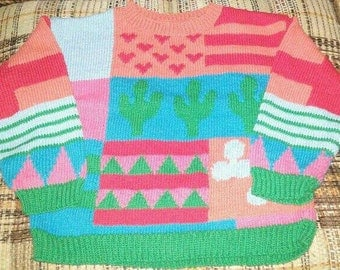 Cotton sweater cactus clover hearts pyramids for girl 6 x
