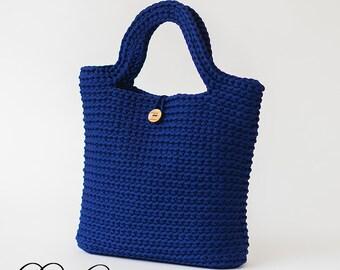 Crochet Blue Canvas Tote Bag, Crochet Shopping Bag, Shoppers Bag, Casual Canvas Bag, Book Bag, Beach Bag, Crochet Market Bag, Shoulder Bag
