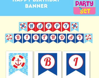 Happy birthday Nautical banner,  sailor party, party paper decoration, Birthday Party Package, printables,mustache party, bowtie birthday