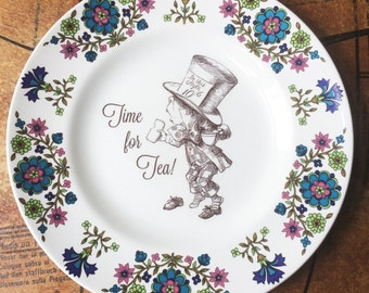 Vintage upcycled Mad Hatter Time for Tea Alice in Wonderland plate, Unique gift, Wall print, home decor, Housewarming gift, Birthday gift,