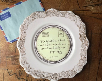 Vintage upcycled Travel quote plate, wall art, Home decor travel, Housewarming gift travel, Wedding gift, Christmas gift, Personalised