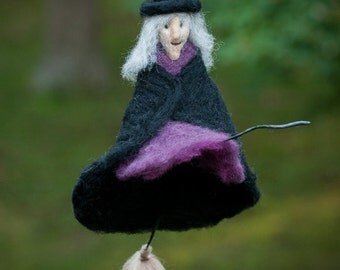Witch needle felted handmade wool hanging ornament in black