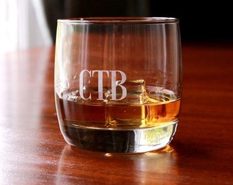 Etched Lowball Glass Set of 4
