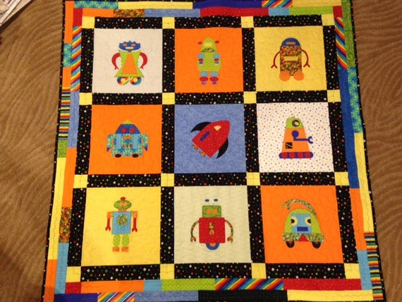 Robot quilt baby quilt handmade quilt for Robot quilt fabric