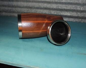 Classy looking Walnut & Mahogany Travel Mug.