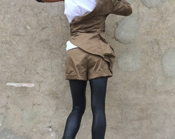 Womens Fashion Set, Extravagant Brown Set, Oversize Buttoned Blazer, Drop Crotch Harem Shorts, Elegant Casual Set by SSDfashion