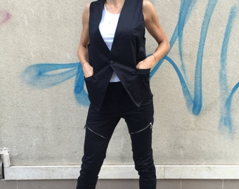 Black Elegant Cotton Set, Women's Sleeveless Vest, Extravagant Pants With Zipper, Oversize Black Set by SSDfashion