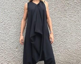 Black Cotton Jumpsuit, Wide Leg Maxi Romper, Loose Drop Crotch Elegant Jumpsuit, Casual Jumpsuit With Zipper by SSDfashion
