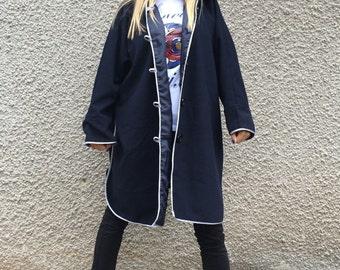 Elegant Dark Blue Hooded Coat, Extravagant Cashmere Loose Coat, Asymmetrical Warm Maxi Jacket by SSDfashion