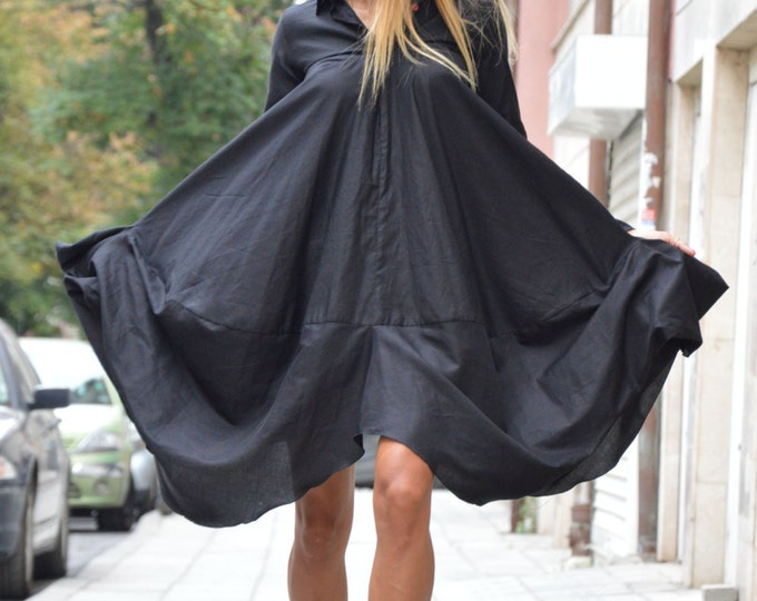 Extravagant Black Long Shirt, Maxi Cotton Shirt, Asymmetric Loose Shirt, Oversize New Collection By SSDfashion