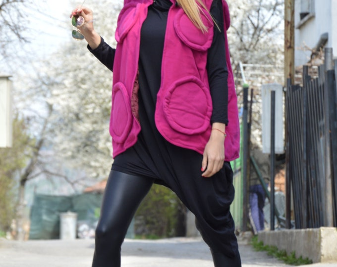 Womens Purple Vest, Warm Coat, Casual Vest, Comfortable Coat, Cashmere Vest, Maxi Coat, Winter Vest by SSDfashion