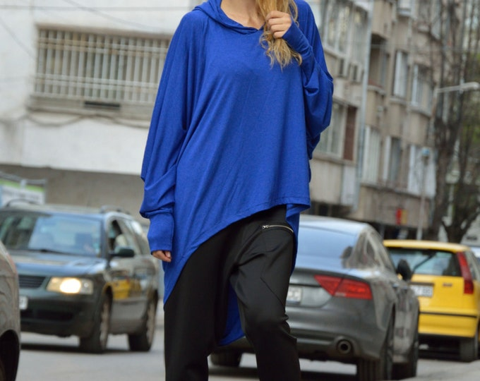 Casual Blue Hooded Tunic, Extravagant Long Sleeves Tunic, Asymmetric Blouse, Blue Oversize Maxi Top by SSDfashion