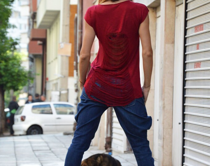 Comfortable Burgundy Loose Casual T-shirt, Extravagant Plus Size Top, Fashion Handmade Maxi Tunic By Ssdfashion