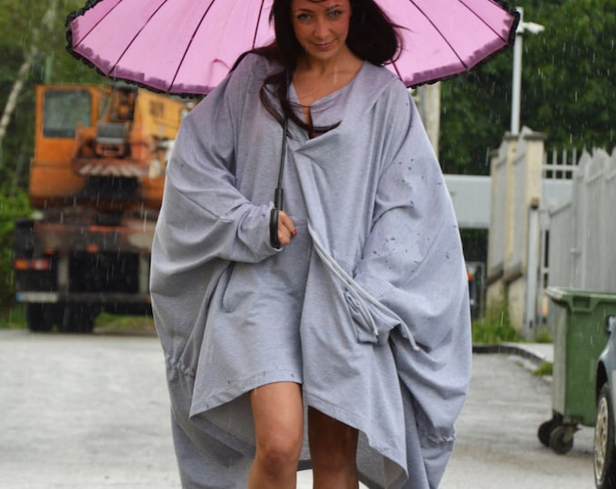 Plus Size Grey Hooded Sweatshirt, Extravagant Maxi Tunic , Front Pocket Loose Tunic By SSDfashion