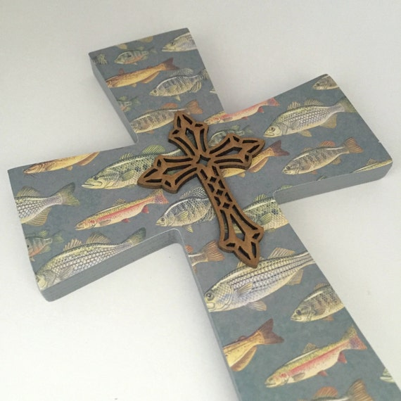 Fishing nursery decorative cross gift for by for Hunting and fishing gifts