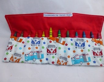 Camper Van fabric pencil or crayon roll containing 12 crayons