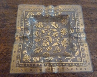 Beautiful glass ashtray with gold floral print