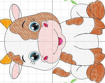 machine embroidery baby cow