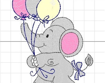 machine embroidery baby elephant balloons