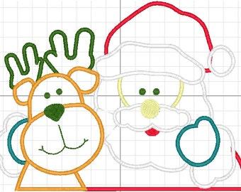Santa Claus and reindeer applique