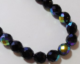 Beautiful Aurora Borealis Black AB Necklace Faceted Bead J229
