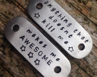 Trainer/running shoe tags. Handstamped running shoe tags. These tags are completely personalised so please state wording on ordering.