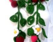 "2016 Lucky charm flower garland, Crochet Strawberry Scarf// 59 "" Flower Garland // Eco-friendly Lariat Scarf// Garland// OOAK- (LARIAT808)"