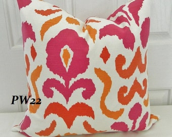 STROHEIM -Montenego Decorative Pillow Cover / Pink and Orange 18 x 18 / Both Sides / Ready to Ship!