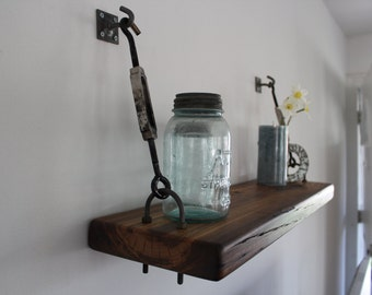 Reclaimed Wood Turnbuckle Wall Shelf