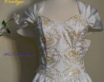 Vintage 1980 Jessica McClintock Gunne Sax with Gold Sequins Dress