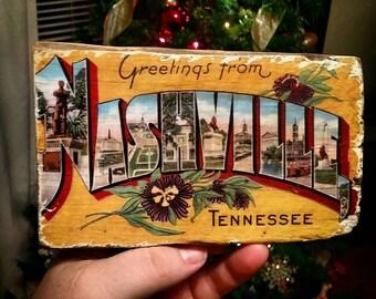 Vintage Postcard Wood Transfers Nashville, Chicago, Hawaii, Austin plus more