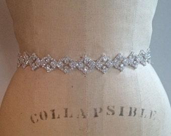 Crystal Rhinestone Vintage Art Deco Beaded Bridal Sash /Belt-Crystal Rhinestone Beaded Bridesmaid Belt /Sash-Gatspy Beaded Bridal Sash /Belt