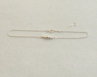 Sterling silver beaded anklet. Delicate simple sterling ankle bracelet