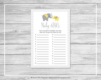 Elephant Baby Shower Baby ABCs Game - Printable Baby Shower Baby ABCs Game - Yellow and Gray Elephant Baby Shower - Baby ABCs Game - SP103