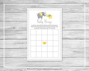 Elephant Baby Shower Baby Bingo Game - Printable Baby Shower Baby Bingo Game - Yellow and Gray Elephant Baby Shower - Baby Bingo Game- SP103