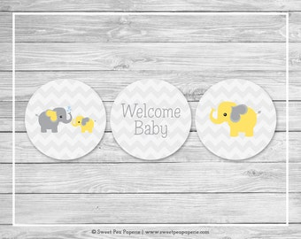 Elephant Baby Shower Cupcake Toppers - Printable Baby Shower Cupcake Toppers - Yellow and Gray Elephant Baby Shower - Cupcake Toppers- SP103