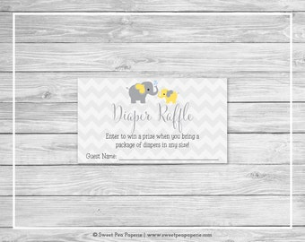 Elephant Baby Shower Diaper Raffle Insert - Printable Baby Shower Diaper Raffle Cards - Yellow and Gray Elephant Baby Shower - SP103