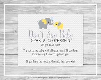 Elephant Baby Shower Don't Say Baby Game - Printable Baby Shower Don't Say Baby Game - Yellow and Gray Elephant Baby Shower - SP103