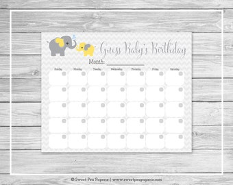 Elephant Baby Shower Guess Baby's Birthday - Printable Baby Shower Guess Baby's Birthday Game - Yellow and Gray Elephant Baby Shower - SP103