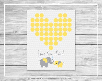 Elephant Baby Shower Guest Book - Printable Baby Shower Guest Book - Yellow and Gray Elephant Baby Shower - Baby Shower Guest Book - SP103