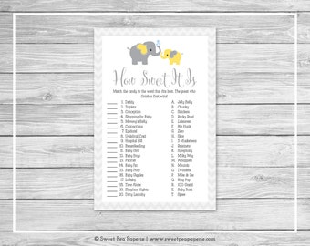 Elephant Baby Shower How Sweet It Is Game - Printable Baby Shower How Sweet It Is Game - Yellow and Gray Elephant Baby Shower - SP103