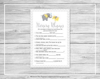 Elephant Baby Shower Nursery Rhyme Game - Printable Baby Shower Nursery Rhyme Game - Yellow and Gray Elephant Baby Shower - SP103