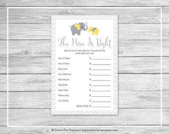 Elephant Baby Shower Price Is Right Game - Printable Baby Shower Price Is Right Game - Yellow and Gray Elephant Baby Shower - SP103